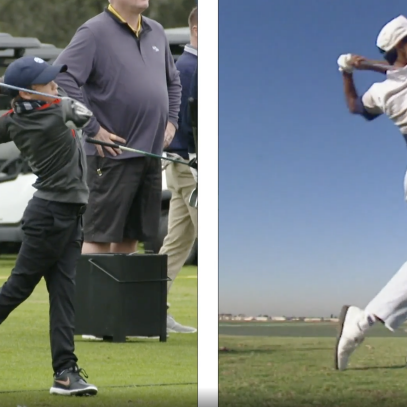 A fascinating side-by-side comparison of Charlie Woods' and a young Tiger's swing