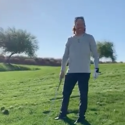 Chip Gaines consistently trying and failing to hit a golf ball is how the rest of us look trying to hang drywall