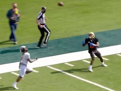 The best wide receiver at the Senior Bowl might be a dude who played running back at UCLA