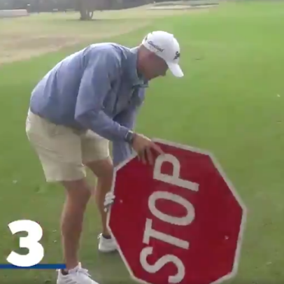 Watch a Korn Ferry Tour pro play a par 3 with a stop sign because, well, we don't really know why
