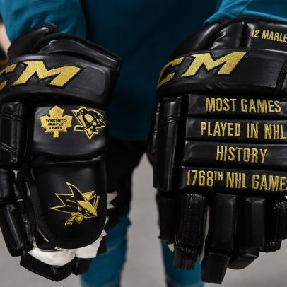Patrick Marleau has now played more NHL games than anyone ever and has the gloves to prove it