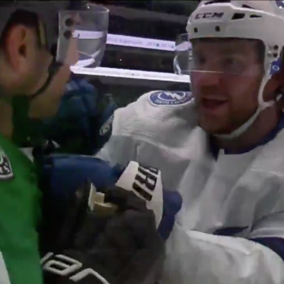 This crazy up-close look at Brayden Point and Andrew Cogliano going at it shows you how an NHL fight gets made