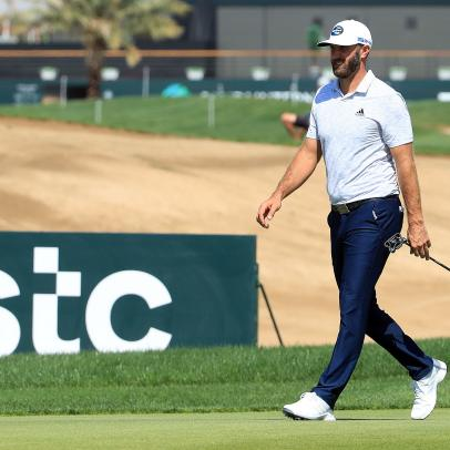 Dustin Johnson is in an awfully familiar place at the Saudi International