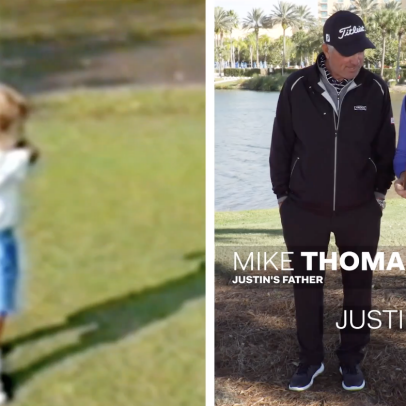 Justin Thomas and his dad revisit his swing as a 2-year-old—and it's evolved ever since