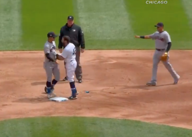 MASSIVE brawl in the White Sox-Indians game (just kidding, they all just held each other back like always)