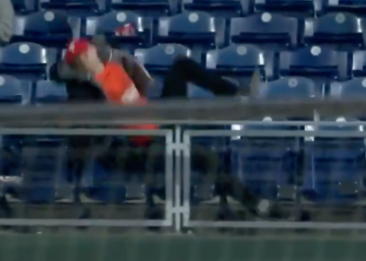 Is it mean to laugh at Foul Ball Guy taking a huge spill and not even getting the ball he was going after?