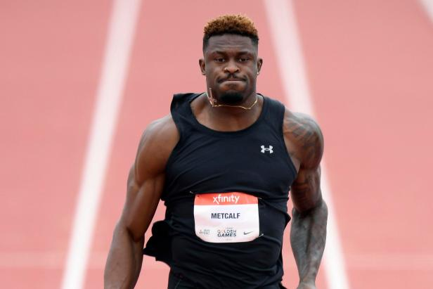DK Metcalf finishing dead last in his first pro track and field race is still the athletic feat of the weekend