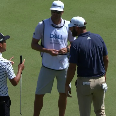 Kevin Na confronts Dustin Johnson following quick-rake gimme